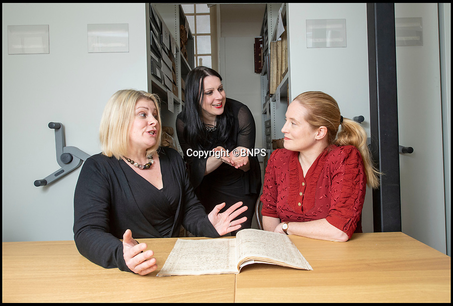 BNPS.co.uk (01202 558833)<br /> Pic: PhilYeomans/BNPS<br /> <br /> Blenheim Archivist Dr Alexa Frost(l) The Favourite author Ophelia Field(r) and TV historian Dr Janina Ramirez with the rediscovered account book.<br /> <br /> Paper trail - As Olivia Coleman wins the best actress Oscar for her acclaimed portrayal of Queen Anne, a fascinating newly discovered document at Blenheim Palace reveals her very private account's, meticulously kept by Sarah Churchill, Duchess of Marlborough.<br /> <br /> The hand written ledger gives an astonishing insight into the Royal court depicted in 'The Favourite' movie.<br /> <br /> Mysterious payments of several thousand pounds in modern money are listed, including 'to the mad spaniard', 'to Mr M, by order of the Queen, for Secret Service' and even 'to release a prisoner'.<br /> <br /> Also revealed is an astonishing £11,000 bill for chocolate, and a similar one for tea, both were extremely fashionable and expensive new drinks at the time.<br /> <br /> The newly discovered accounts offer an intimate glimpse inside the court of Queen Anne.
