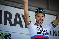 stage winner and 1st overall leader Peter Sagan (SVK/Bora-Hansgrohe) on the podium<br /> <br /> Binckbank Tour 2017 (UCI World Tour)<br /> Stage 1: Breda (NL) > Venray (NL) 169,8km