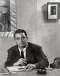 Portrait of Felix Landau in gallery in Los Angeles circa 1950s