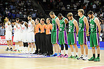 Real Madrid´s players and Unicaja´s players keep a silence minute during 2014-15 Liga Endesa match between Real Madrid and Unicaja at Palacio de los Deportes stadium in Madrid, Spain. April 30, 2015. (ALTERPHOTOS/Luis Fernandez)