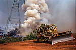 August 25, 1999 Buck Meadows, California -- Pilot Fire –  Bulldozer under Hetch Hetchy power lines. The Pilot Fire burned 3,300 acres in the Tuolumne River Canyon near Yosemite National Park. The fire burned across the Hetch Hetchy power lines.
