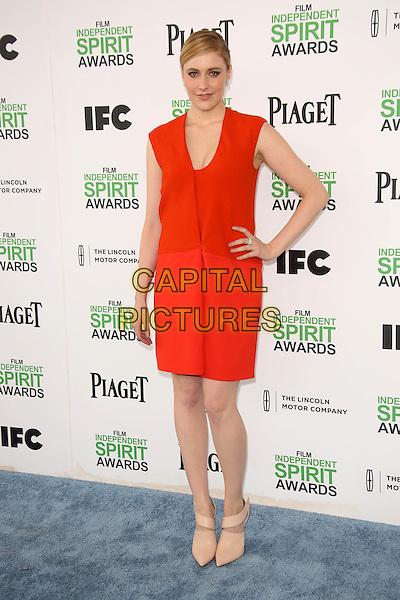 SANTA MONICA, CA - March 01: Greta Gerwig at the 2014 Film Independent Spirit Awards Arrivals, Santa Monica Beach, Santa Monica,  March 01, 2014. Credit: Janice Ogata/MediaPunch<br /> CAP/MPI/JO<br /> &copy;JO/MPI/Capital Pictures