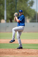 Los Angeles Dodgers relief pitcher Nathan Witt (38) delivers a pitch during an Instructional League game against the Milwaukee Brewers at Maryvale Baseball Park on September 24, 2018 in Phoenix, Arizona. (Zachary Lucy/Four Seam Images)