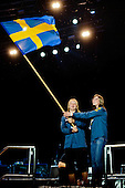 Flag of the host-country Sweden was met by an roar from the crowd. Photo: Kim Rask/Scouterna