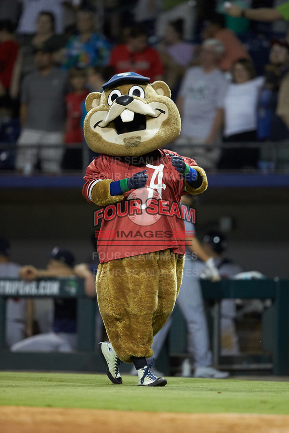 """Gwinnett Stripers mascot """"Chopper"""" sports an Alabama Crimson Tide jersey on """"College Night"""" at BB&T BallPark on August 16, 2019 in Lawrenceville, Georgia. The Stripers defeated the RailRiders 5-2. (Brian Westerholt/Four Seam Images)"""
