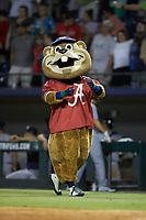 "Gwinnett Stripers mascot ""Chopper"" sports an Alabama Crimson Tide jersey on ""College Night"" at BB&T BallPark on August 16, 2019 in Lawrenceville, Georgia. The Stripers defeated the RailRiders 5-2. (Brian Westerholt/Four Seam Images)"