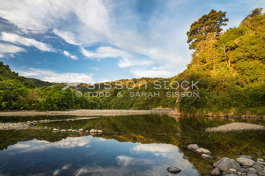 Reflection in the Hutt Valley River, Upper Hutt, New Zealand - stock photo, canvas, fine art print
