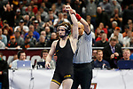 CLEVELAND, OH - MARCH 16: Spencer Lee, of Iowa defeats Nathan Tomasello, of Ohio State, in the 125 weight class during the Division I Men's Wrestling Championship held at Quicken Loans Arena on March 16, 2018 in Cleveland, Ohio. (Photo by Jay LaPrete/NCAA Photos via Getty Images)