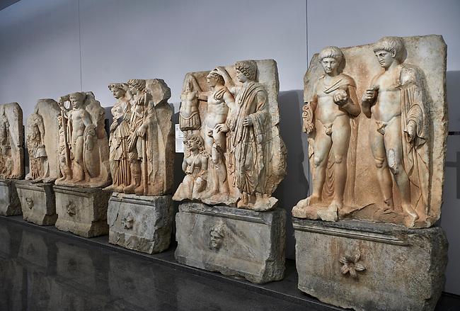 Interior of Aphrodisias Museum, showing Roman Sebastian relief sculptures,   Aphrodisias, Turkey.