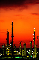 Oil refinery at dusk.