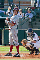 HOUSTON, TEXAS - Feb. 18, 2011: Jake Stewart of Stanford receives hitting signs during the first inning of Stanford's opening day game against Rice.  Stanford defeated Rice University 5-3.