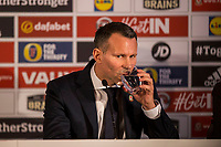 Ryan Giggs takes a drink as he is unveiled as the new Wales National team Manager at Hensol Castle, Vale of Glamoran, on 15 January 2018. Photo by Mark Hawkins.