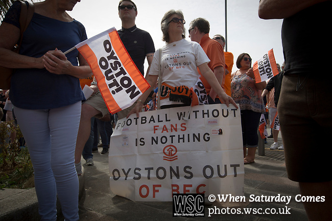 Home fans with a banner protesting outside Bloomfield Road stadium before Blackpool hosted Portsmouth in an English League One fixture. The match was proceeded by a protest by around 500 home fans against the club's controversial owners Owen Oyston, many of whom did not attend the game. The match was won by the visitors by 2-1 with two goals by Ronan Curtis watched by just 4,154 almost half of which were Portsmouth supporters.