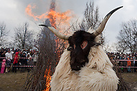 Locals celebrate the end of the winter during the old folk traditional festive of Busojaras in Mohacs, Hungary on March 06, 2011.