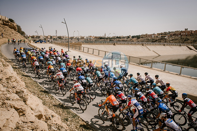 The peloton during Stage 4 of the Saudi Tour 2020 running 137km from Wadi Namar Park to Al Muzahimiyah King Saud University, Saudi Arabia. 7th February 2020. <br /> Picture: ASO/Pauline Ballet | Cyclefile<br /> All photos usage must carry mandatory copyright credit (© Cyclefile | ASO/Pauline Ballet)