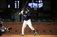 Mobile BayBears center fielder Michael Hermosillo (21) at bat during a game against the Pensacola Blue Wahoos on April 25, 2017 at Hank Aaron Stadium in Mobile, Alabama.  Mobile defeated Pensacola 3-0.  (Mike Janes/Four Seam Images)