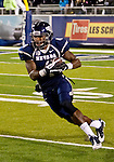 November 10, 2012:  Nevada Wolf Pack wide receiver Brandon Wimberly runs against the Fresno State Bulldogs during their NCAA football game played at Mackay Stadium on Saturday night in Reno, Nevada.