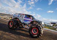 Aug 20, 2016; Brainerd, MN, USA; Lucas Oil Crusader Cadillac Escalade monster truck driven by Linsey Weenk during qualifying for the Lucas Oil Nationals at Brainerd International Raceway. Mandatory Credit: Mark J. Rebilas-USA TODAY Sports