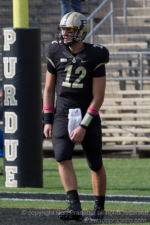 Purdue freshman quarterback Austin Appleby. The Michigan Wolverines defeated the Purdue Boilermakers 44-13 on October 6, 2012 at Ross-Ade Stadium in West Lafayette, Indiana.