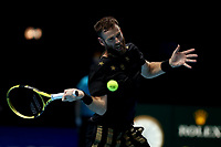 17th November 2019; 02 Arena. London, England; Nitto ATP Tennis Finals; Michael Venus (NZL) with a forehand return to Pierre-Hugues Herbert (FRA)  in mens doubles final - Editorial Use
