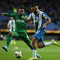 7th November 2019; RCDE Stadium, Barcelona, Catalonia, Spain; UEFA Europa League Football, Real Club Deportiu Espanyol de Barcelona versus PFC Ludogorets Razgrad; Matias Vargas breaks covered by Neuciano Gusmao of Ludogorets - Editorial Use