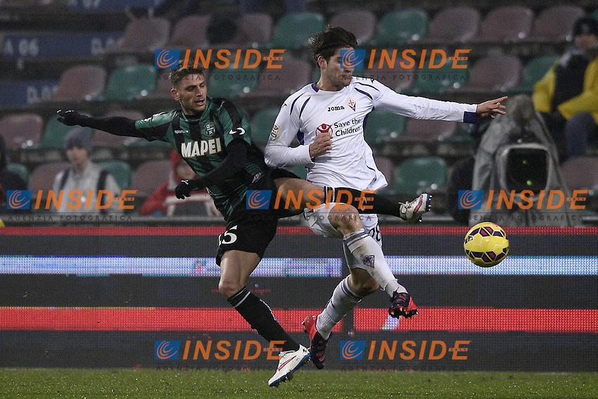 Domenico Berardi Sassuolo, Marcos Alonso Fiorentina  <br /> Reggio Emilia 14-02-2015 Stadio Mapei Football Calcio Serie A Sassuolo - Fiorentina foto Image Sport/Insidefoto