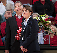 STANFORD, CA - January 8, 2011: Athletic Director Bob Bowlsby and Coach Tara VanDerveer during VanDerveer's 800th career win celebration after Stanford's game against Arizona State at Maples Pavilion. Stanford won 82-35.