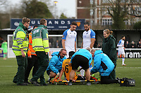 Aron Davies of Maidstone United is lifted onto the stretcher after suffering a painful injury during Maidstone United vs Havant and Waterlooville, Vanarama National League Football at the Gallagher Stadium on 9th March 2019