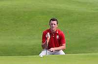 Owen Edwards (WAL) on the 14th green during the Afternoon Singles between Ireland and Wales at the Home Internationals at Royal Portrush Golf Club on Thursday 13th August 2015.<br /> Picture:  Thos Caffrey / www.golffile.ie