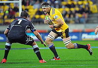 Jeremy Thrush takes the ball up during the Super Rugby match between the Hurricanes and Sharks at Westpac Stadium, Wellington, New Zealand on Saturday, 9 May 2015. Photo: Dave Lintott / lintottphoto.co.nz