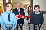 Official Opening: Minister for the Arts, Heritage & An Gaeltach, Jimmy Deenihan,T.D. cutting the tape ayt the official opening of a new Computer room at Ballylongford National School on Friady last. L-R : Neal Carmody, Minister Deenihan, Fr. Joseplh Tarrant, PP, Ballylongford, Liz O'Sullivan Prinvipal,, Ballylongford NS & Cian Barrett.