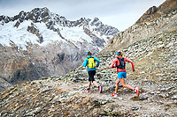 Trail running in the rocky landscape of the Salbit, Switzerland.