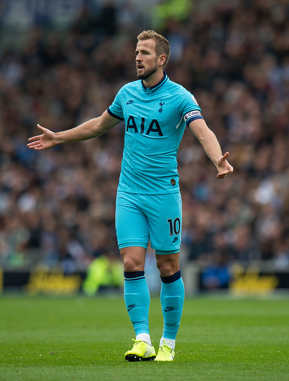 Tottenham Hotspur's Harry Kane <br /> <br /> Photographer David Horton/CameraSport<br /> <br /> The Premier League - Brighton and Hove Albion v Tottenham Hotspur - Saturday 5th October 2019 - The Amex Stadium - Brighton<br /> <br /> World Copyright © 2019 CameraSport. All rights reserved. 43 Linden Ave. Countesthorpe. Leicester. England. LE8 5PG - Tel: +44 (0) 116 277 4147 - admin@camerasport.com - www.camerasport.com