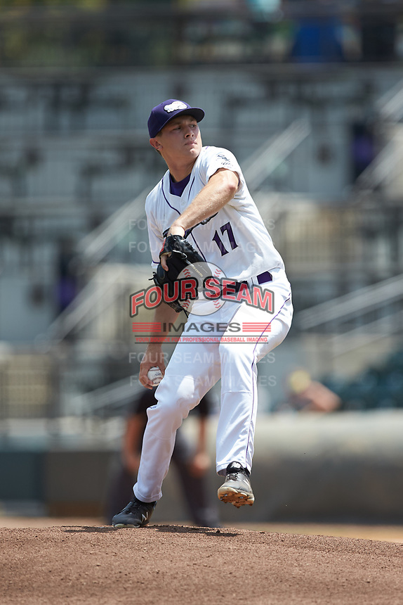 Winston-Salem Dash starting pitcher Jonathan Stiever (17) in action against the Carolina Mudcats at BB&T Ballpark on August 4, 2019 in Winston-Salem, North Carolina. The Dash defeated the Mudcats 7-5. (Brian Westerholt/Four Seam Images)