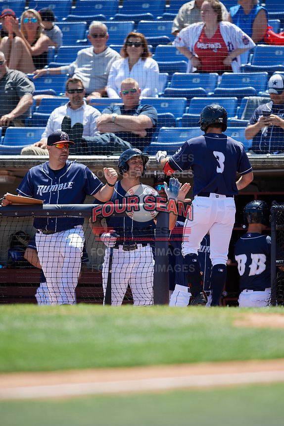 Binghamton Rumble Ponies left fielder Tim Tebow (15) and hitting coach Valentino Pascucci (44) congratulate Levi Michael (3) as he returns to the dugout after hitting a home run in the bottom of the sixth inning during a game against the Altoona Curve on June 14, 2018 at NYSEG Stadium in Binghamton, New York.  Altoona defeated Binghamton 9-2.  (Mike Janes/Four Seam Images)