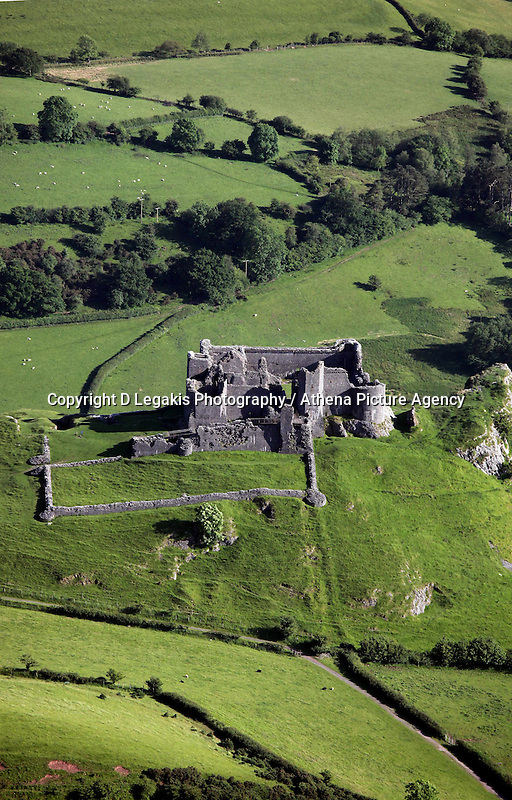 Carreg Cennen Castle near Llandeilo.<br /> Re: Aerial view of Wales. Sunday 14 June 2009<br /> Picture by D Legakis Photography / Athena Picture Agency, 24 Belgrave Court, Swansea, SA1 4PY, 07815441513