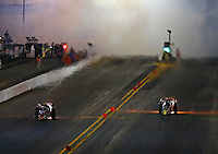 Jul. 25, 2014; Sonoma, CA, USA; NHRA Jet dragsters making an exhibition run during qualifying for the Sonoma Nationals at Sonoma Raceway. Mandatory Credit: Mark J. Rebilas-