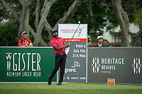 S Chikkarangappa (IND) on the 9th tee during the 3rd round of the AfrAsia Bank Mauritius Open, Four Seasons Golf Club Mauritius at Anahita, Beau Champ, Mauritius. 01/12/2018<br /> Picture: Golffile | Mark Sampson<br /> <br /> <br /> All photo usage must carry mandatory copyright credit (&copy; Golffile | Mark Sampson)
