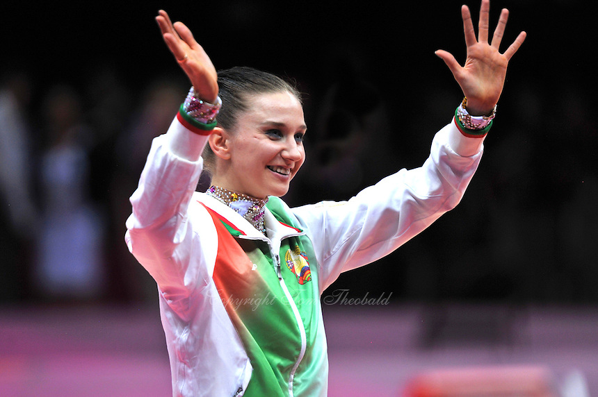 August 11, 2012; London, Great Britain;  LIUBOV CHARKASHYNA of Belarus celebrates winning bronze in rhythmic gymnastics individual All-Around final at London 2012 Olympics.