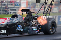 Jul 18, 2020; Clermont, Indiana, USA; NHRA top fuel driver Doug Foley during qualifying for the Summernationals at Lucas Oil Raceway. Mandatory Credit: Mark J. Rebilas-USA TODAY Sports