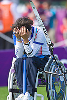 04.09.2012 London, England. Elisabetta Mijano (ITA) disappointed  during the  women's W1/W2  Final from the Royal Artillery Barracks, Mijano (ITA) lost to Zara Nemati (IRI)