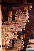 Agra, India.  Agra Fort,  Jahangiri Mahal.  Elaborately-Carved Supports in the Indian Style Hold the Upper Level.
