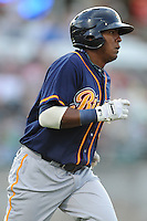 Montgomery Biscuits Daniel Mayora #32 runs to first during a game against  the Tennessee Smokies at Smokies Park in Kodak,  Tennessee;  April 13, 2011.  Tennessee defeated Montgomery 12-2.  Photo By Tony Farlow/Four Seam Images