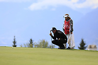 Scott Hend (AUS) lines up his putt on the 7th green during Sunday's Final Round of the 2017 Omega European Masters held at Golf Club Crans-Sur-Sierre, Crans Montana, Switzerland. 10th September 2017.<br /> Picture: Eoin Clarke | Golffile<br /> <br /> <br /> All photos usage must carry mandatory copyright credit (&copy; Golffile | Eoin Clarke)