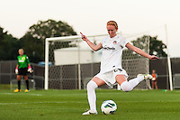 Washington Spirit midfielder Victoria Huster (23). Sky Blue FC defeated the Washington Spirit 1-0 during a National Women's Soccer League (NWSL) match at Yurcak Field in Piscataway, NJ, on August 3, 2013.