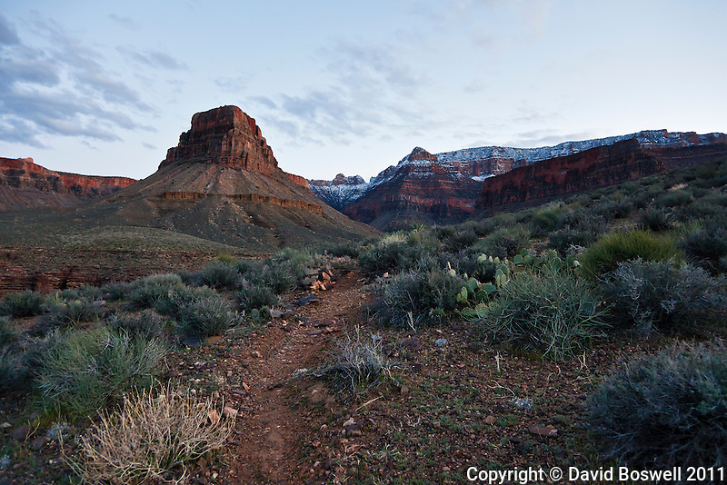 Hiking the Tonto Trail back to camp in Ctoonwood Canyon below the South Rim of the Grand Canyon.