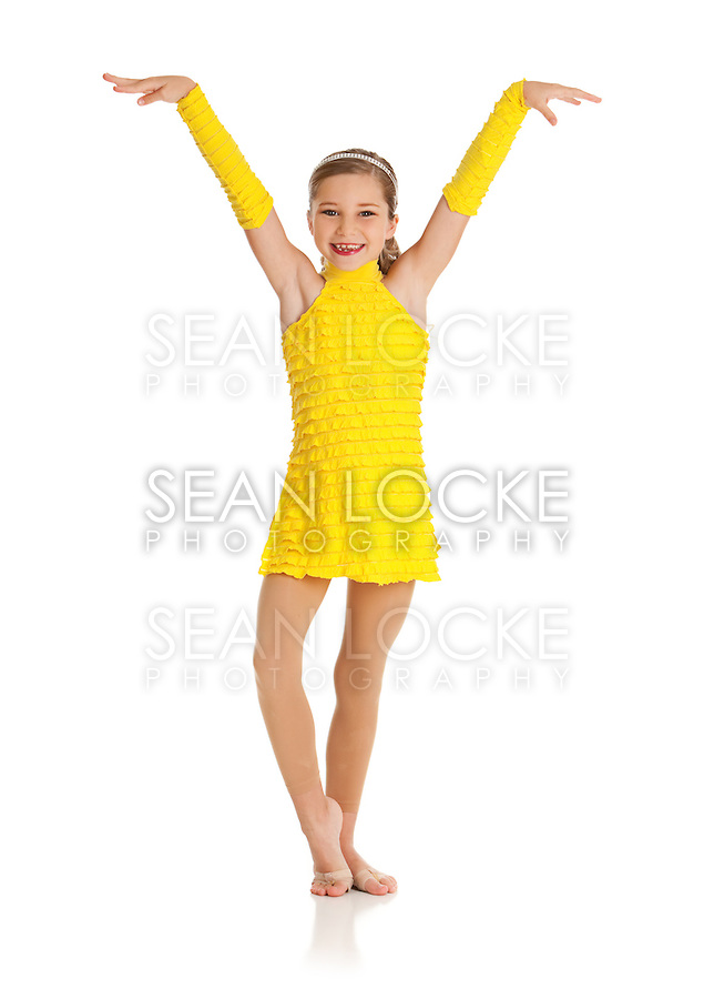 Isolated on white series of a cute young Caucasian girl dancer in various dance outfits, including ballet, hip hop, jazz and acrobatics.