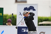 Lasse Jensen (DEN) tees off the 1st tee during Saturday's storm delayed Round 2 of the Andalucia Valderrama Masters 2018 hosted by the Sergio Foundation, held at Real Golf de Valderrama, Sotogrande, San Roque, Spain. 20th October 2018.<br /> Picture: Eoin Clarke | Golffile<br /> <br /> <br /> All photos usage must carry mandatory copyright credit (&copy; Golffile | Eoin Clarke)