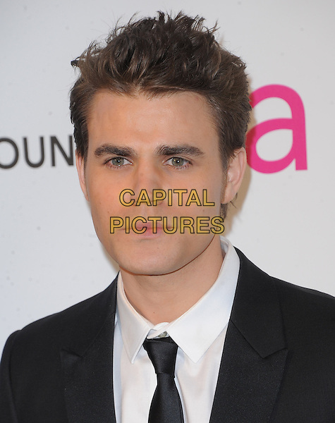Paul Wesley.The 21st Annual Elton John AIDS Foundation Academy Awards Viewing Party held at The City of West Hollywood Park in West Hollywood, California, USA..February 24th, 2013.oscars headshot portrait black white tie shirt.CAP/DVS.©DVS/Capital Pictures.