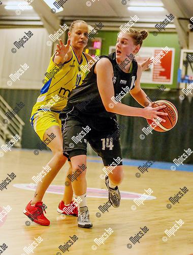 2016-01-31 / Basketbal/ seizoen 2015-2016 / Sint -Katelijne Waver- Castors Braine / Anderson (l.Castors) Bastiaenssen probeert te passeren Foto: Mpics.be